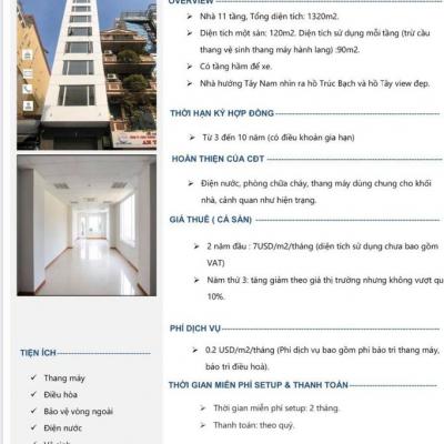 Cho thuê nhà 11 tầng , tổng dt 1320m2, dt 1 sàn 120m2, diện tích sử dụng mỗi tầng trừ cầu thàng 90m2 +Có tầng hầm để xe